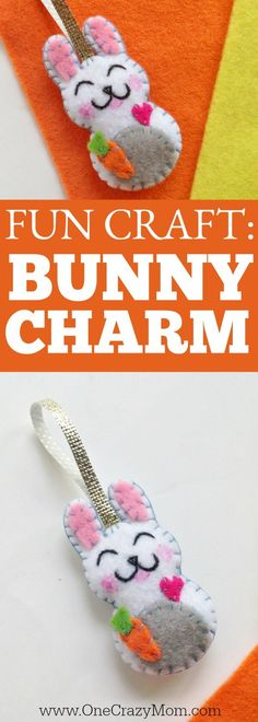 Easter felt crafts are so fun! Learn how to make a Bunny Charm. DIY Easter crafts are so simple. Kids will love this easy bunny craft! Find Easter craft ideas for kids. Easter crafts for kids they will love!