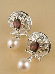 Boucles 6487, fait main, argent, or, grenat, perles