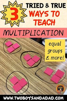 Teaching multiplication to graders or upper elementary students can take many forms. But here are 3 strategies that will fit any learning style. Presented as hands-on activities, students learn to use equal groups, arrays and a number line to multiply. Math Strategies, Math Resources, Math Tips, Elementary Math, Upper Elementary, Multiplication Activities, Math Activities, Numeracy, Math Fractions