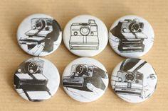 Polaroid vintage illustrations - pin badges 6 pack