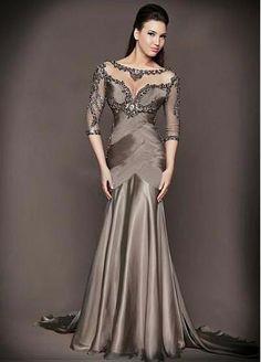 5b693e96b5  139.50  Elegant Silk-like Chiffon Bateau Neckline Mermaid Evening Dress  With Beaded Lace Appliques. Formal Dresses For WomenDress FormalFormal  GownsElegant ...