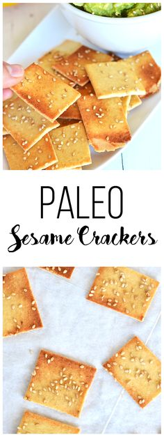 These Paleo Sesame Crackers have only 5 ingredients and come together in no time! Perfect for a grain-free appetizer!