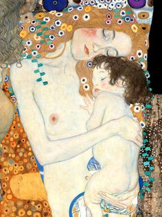 Gustav Klimt. Beautiful display of mother and child love.