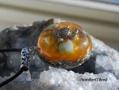 Turtle Orgonite Necklace Aquamarine Larimar Pendant by InnerMind