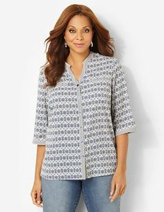 Complete your classic look with this must-have buttonfront shirt. Abstract diamonds create a tile print along the silky, lightweight fabric. Complete with faux besom chest pockets and three-quarter sleeves with button closures. Side slits at the hem finish off the relaxed style. Catherines tops are designed for the plus size woman to guarantee a flattering fit. catherines.com
