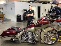 2013 Custom Road Glide pictured with Josh, our technician behind the motorcycle