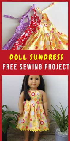 This is an easy AG doll dress sewing pattern that can be made as midi and maxi. This sewing project is so easy that you can make it even if you are a beginner. This is a halter neck doll dress sewing tutorial that is available for free. American Girl Outfits, American Doll Clothes, American Girl Doll Pajamas, American Girl Crafts, American Girls, Sundress Pattern, Doll Dress Patterns, Sewing Patterns, Clothing Patterns