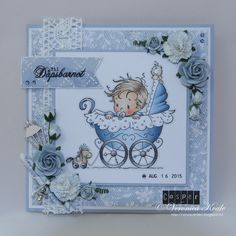 CopicMarkerNorge: Dåpskort in blue - image from Wee Stamps - Skin: E11 - E00 - E000 - E0000 Cheeks: R22 - R20 - R00 Hair / Brown: E44 - E43 - E42 - E41 - E40 Blue: B97 - B95 - B93 - B91 - B90 (homemade) White: B91 - B90 (homemade) - 0 Gray: N6 - N4 - N2 - N0 Shaded area: N0