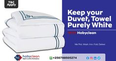 Are you struggling to keep a white towel, jumper, or duvet purely white? Well, just boil water and soak it in detergent. You'll thank us later. To know more 👉Subscribe, download our HobyClean Customer app or call us at +256776515244 or 🔗www.hobyclean.com #Hobyclean #stains #stainremoval #laundry #laundryservice #laundryday #laundrykiloan #laundrycoin #laundryekspress #laundryroom #laundrytime #coinlaundry #speedqueen #laundrysatuan #carpetcleaning #dirtyclothes #vendorapp #SignUp #forfree #d Online Laundry, Coin Laundry, Laundry Service, White Towels, How To Clean Carpet, Duvet, Jumper, Stains, How To Apply