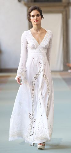 Luisa Beccaria cotton and lace dress -- perfect for a beach or garden wedding.