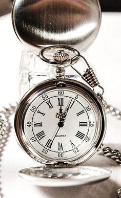 "Silver Pocket Watch Tattoo ""Time is always forward""--Nana"