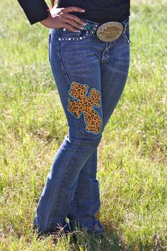 Ranch Dress'n - LEOPARD CROSS DENIM JEANS, $55.00 (http://ranchdressn.com/copy-of-denim-jeans-with-gold-feathers/)