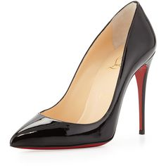 Christian Louboutin Pigalle Follies Point-Toe Red Sole Pump ($705) ❤ liked on Polyvore featuring shoes, pumps, heels, christian louboutin, sapatos, black, black heel pumps, pointed-toe pumps, black high heel shoes and low heel shoes