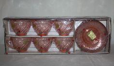 Vintage Arcoroc France Tea Cups Saucers 12 Piece Rosaline Pattern Pink 1960s MCM