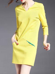 Shift Plain Elegant 3/4 Sleeve Mini Dress