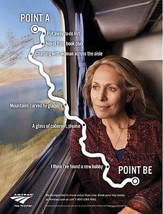 Amtrak print ads Excellent ads! Asymmetric balance