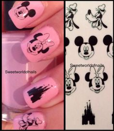 Disney Mickey and Minnie Mouse Nail Art Water by Sweetworldofnails, $2.50