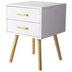 Shop Kinbor Night Stand Side Table Beside End Table Mid-century Accent Furniture For Bedroom w/ 2 Storage Drawers - On Sale - Overstock - 23058386 - White Bedroom Furniture Stores, Bed Furniture, Accent Furniture, Furniture Deals, Modern Furniture, Furniture Logo, Furniture Vintage, White Furniture, Cheap Furniture