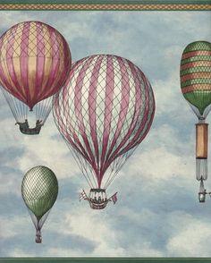 Balloon dirigible hot air airship flag wallpaper border Vintage