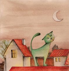 What is it about cats and roofs? I have never seen a cat on a roof, have you?