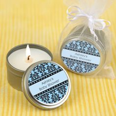 Damask Boy  - Candle Tin Personalized Baby Shower Favors  $1.99