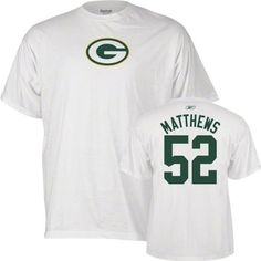 Reebok Green Bay Packers Clay Matthews White Name & Number T-Shirt by Reebok. $20.88. Wearing this Green Bay Packers Clay Matthews Name & Number t-shirt from Reebok® lets everyone know you're a hardcore fan. The short-sleeve shirt is made of soft, breathable cotton for long-lasting comfort and durability. The classic white tee is designed with the full-color team logo screen-printed on the chest and the player's name and number screen-printed on the back. Adult men's sizes.