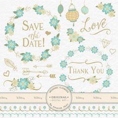 Vintage Blue Floral Party & Wedding Clip Art by AmandaIlkov