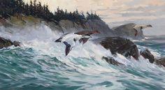 """Eiders, Monhegan,"" Don Stone, oil on canvas, 20 x 37"", private collection."