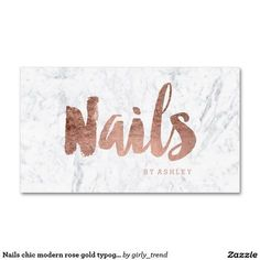Nails chic modern rose gold typography marble Double-Sided standard business cards (Pack of Salon Business Cards, Business Card Design, Nail Logo, Beauty Salon Interior, Colour Schemes, Branding, You Nailed It, Logo Design, Graphic Design