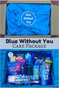 Great care package idea for a college student, intern, family member or friend! for best friends care packages Blue Without You Care Package - Celebrate Every Day With Me Friend Birthday Gifts, Diy Birthday, Best Friend Gifts, Gifts For Friends, Gifts For Him, Miss You Gifts, Sister Gifts, Birthday Presents, Craft Gifts