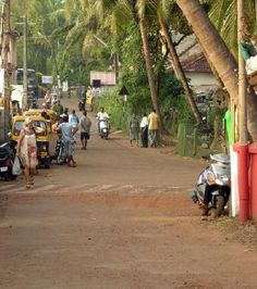 This is the Main Street of Agonda Beach, Goa, India-How great is this? Nothing bigger than a small cab,& mostly mopeds!