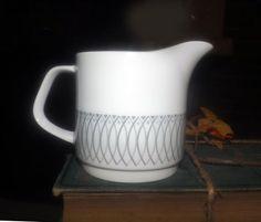 Vintage (c. late 1960s) J&G Meakin Scraffito pattern creamer | milk jug. Black-and-gray geometric pattern. Meakin Studio Line.