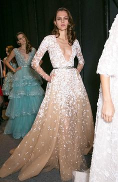 Backstage at Zuhair Murad Spring 2015.