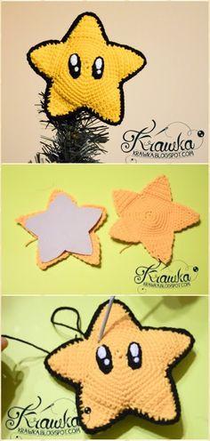 Crochet Mario Star Christmas Tree Topper Free Pattern - Crochet Star Free Patterns