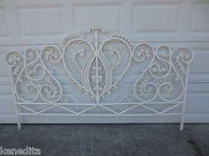 Peacock King Size Headboard Wicker Victorian White Romantic White Vintage | eBay