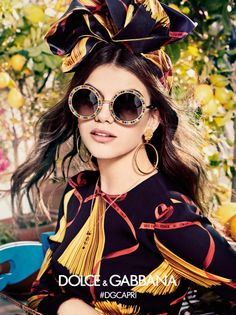 Circular framed sunglasses appear in Dolce & Gabbana Eyewear's spring-summer 2017 campaign