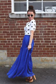 Royal Blue Maxi Skirt - excellent to pair with your favorite stacked heels or wedges.
