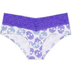 Victoria's Secret Lace Trim Hipster Panty ($9.50) ❤ liked on Polyvore featuring intimates, panties, underwear, purple skulls, lace panties, bikini panties, lace panty, purple lace panties and purple bikini
