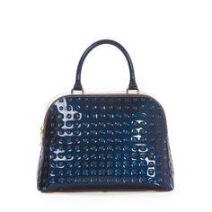 Attavanti - Arcadia Stella Patent Leather  Bowling Grab Bag - Blue, £185.00 (https://www.attavanti.com/luxury-italian-leather-designer-handbags/arcadia-stella-patent-leather-bowling-grab-bag-blue/)