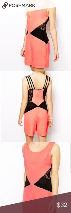 Girls On Film Neon Pink Playsuit with Lace Panels Romper by Girls On Film Petite sizes from ASOS is made from a woven poly blend                                                                -Scoop neckline, sheer lace inserts                                     -Zip back                                                                              -Strap detailing to reverse, Body-Conscious fit Asos Dresses Mini