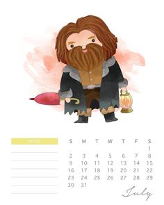 Calendario 2017 de Harry Potter para Imprimir Gratis.