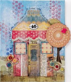 Collage Couture Studio Paper Dolls House Project on http://www.createmixedmedia.com   tutorial on making this