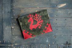 """Купить Клатч """"Птица"""" - ярко-красный, орнамент, славянские символы, славянский…"""