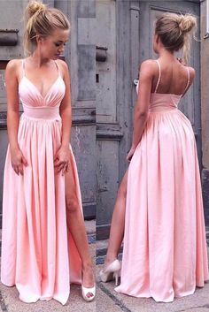 Simple Spaghetti Straps Pink V Neck Long Prom Dress with Slit  by RosyProm, $129.19 USD
