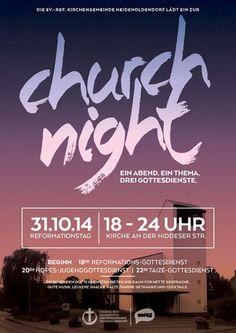 Church Night poster created using Arquitecta ☞ https://www.hypefortype.com/arquitecta.html #FontsInuse