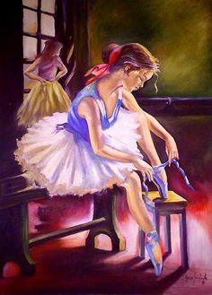 Bailarina by Aurea Seganfredo – oil on canvas - Tanzen Art Ballet, Ballerina Painting, Ballerina Art, Little Ballerina, Ballet Dancers, Dancing Drawings, Art Drawings, Dance Paintings, Art Pictures