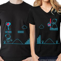 BoldLoft Key to My Heart couple t shirts in black. Perfect for video game lovers, featuring 2 video game characters, these matching his and hers couple shirts are the perfect couple gifts for game lovers or those who have everything. Couple Tees, Matching Couple Shirts, Matching Couples, Couple Gifts, Matching Set, Anniversary Gifts For Couples, Wedding Gifts For Couples, Gifts For Your Boyfriend, Husband Gifts