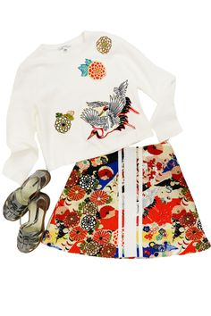 Carven Print Sweater, Carven Print Skirt, Jil Sander Navy Pewter Woven Sandals