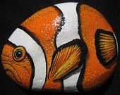 Original Hand Painted Stone / River Rock Tropical Clown Fish / Outdoor / Home Decor in Acrylics by karrinmelo at MeloArtGallery on Etsy