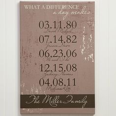 Your parents know all too well what an amazing difference a day can make, and this customized canvas lets you highlight those life-changing moments in an elegant way.
